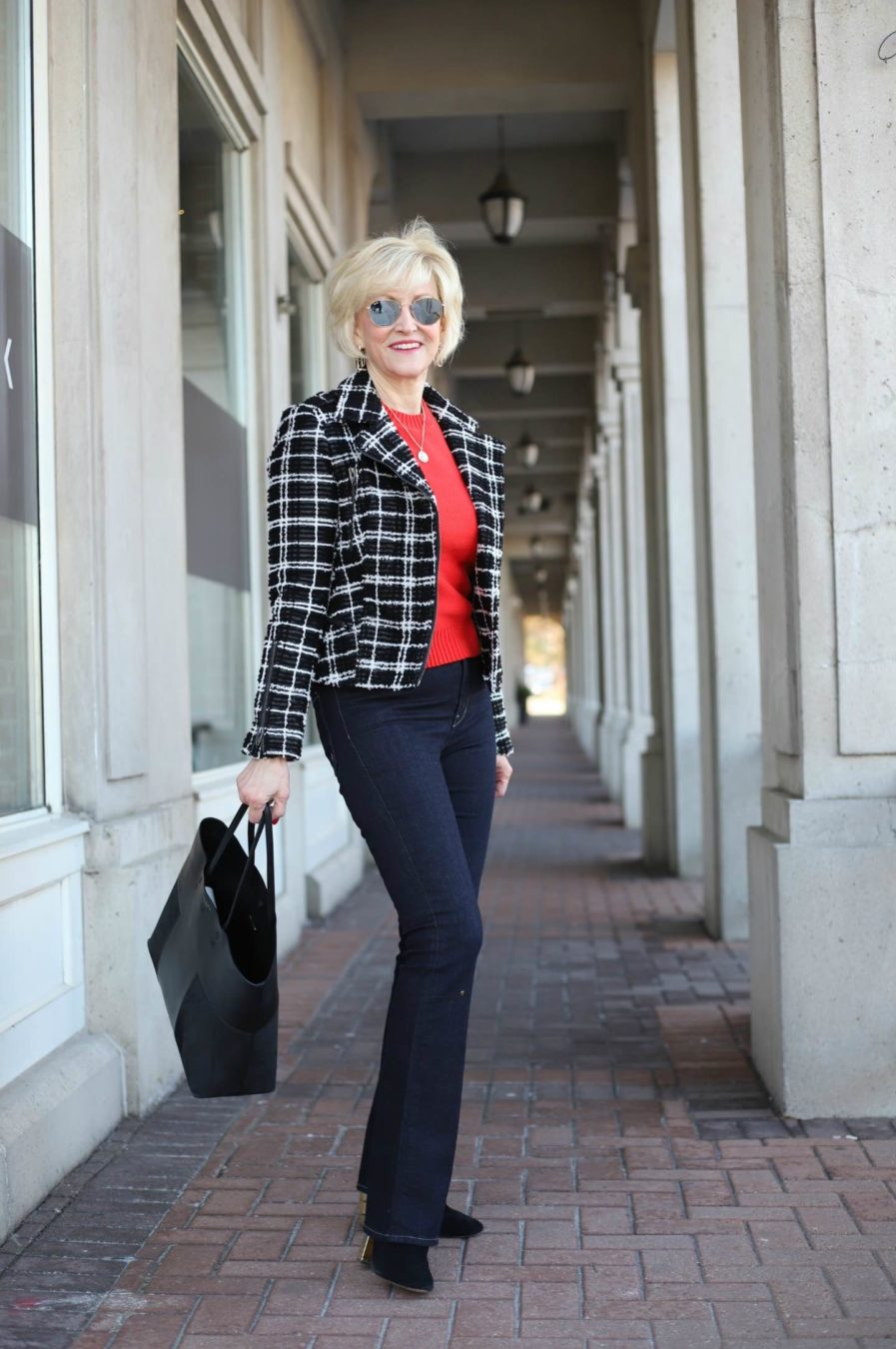 black plaid moto jacket Deborah Boland