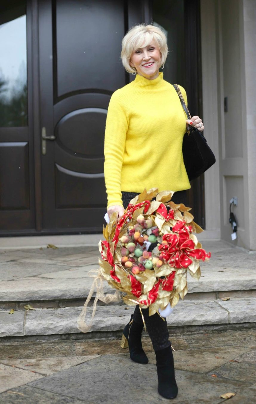 yellow ribbed sweater, black jeans Deborah Boland Fabulous After 40