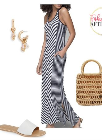 Striped Dresses - Navy and White Maxi