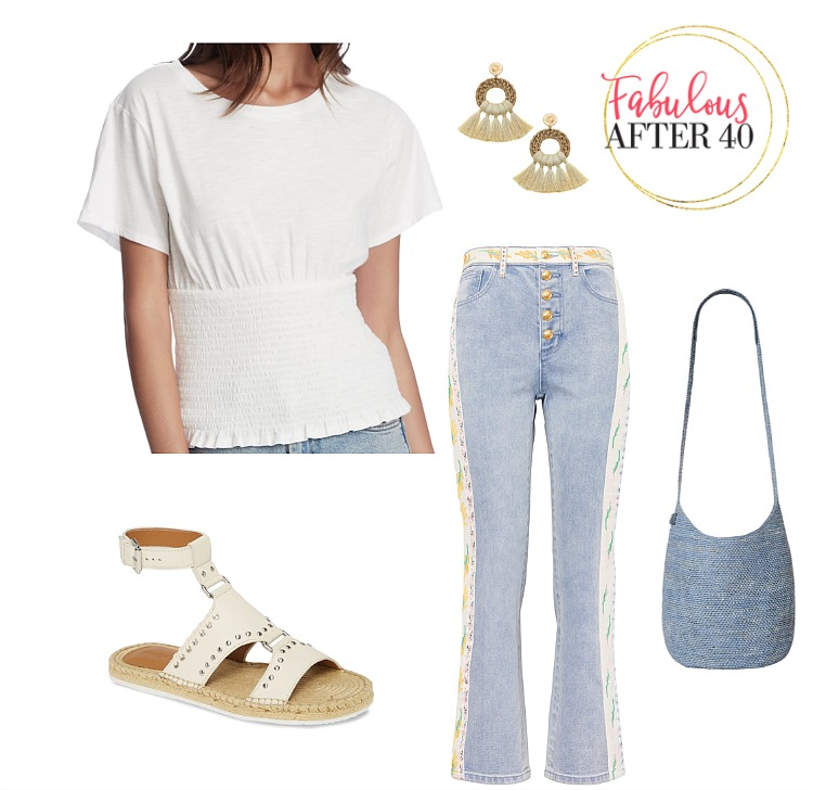 Boho summer outfit - Embroidered Jeans Tory Burch