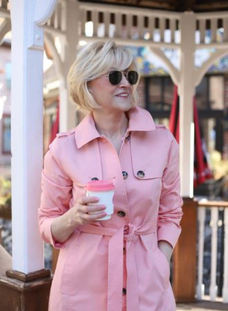 Pink Trench coat belted